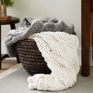 Pottery Barn Chunky Cable Handknit Blanket